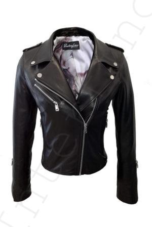 Куртка женская 28-2015 из гладкой кожи черная сзади