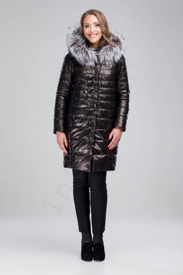 Кожаное пальто-пуховик с капюшоном 150-2016