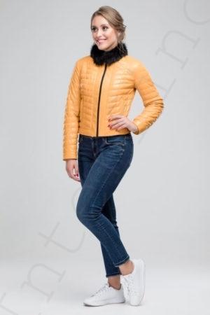 Куртка женская 23-2017 желтая сбоку
