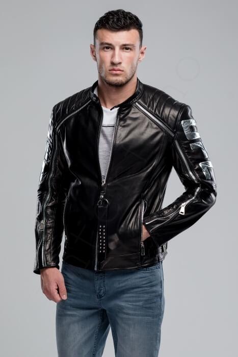 Куртка кожаная мужская 63-2018 крупным планом