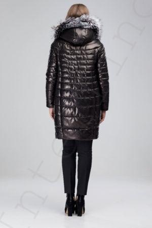 Кожаное пальто-пуховик с капюшоном 150-2016 сзади