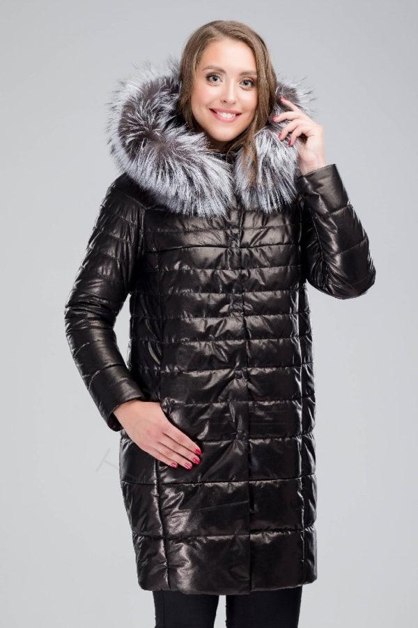 Кожаное пальто-пуховик с капюшоном 150-2016 крупным планом