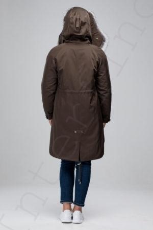 Парка женская с отделкой капюшона мехом чернобурки 42-2018 цвета хаки сзади