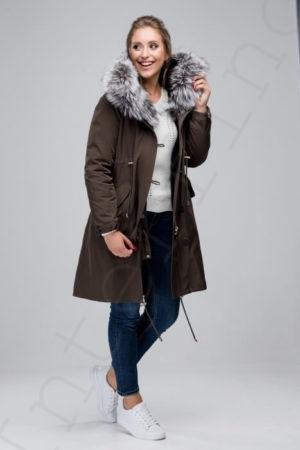 Парка женская с отделкой капюшона мехом чернобурки 42-2018 цвета хаки сбоку