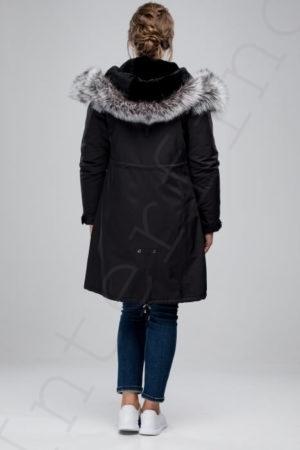 Парка женская с отделкой капюшона мехом чернобурки 42-2018 черная сзади