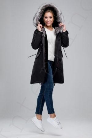 Парка женская с отделкой капюшона мехом чернобурки 42-2018 черная спереди