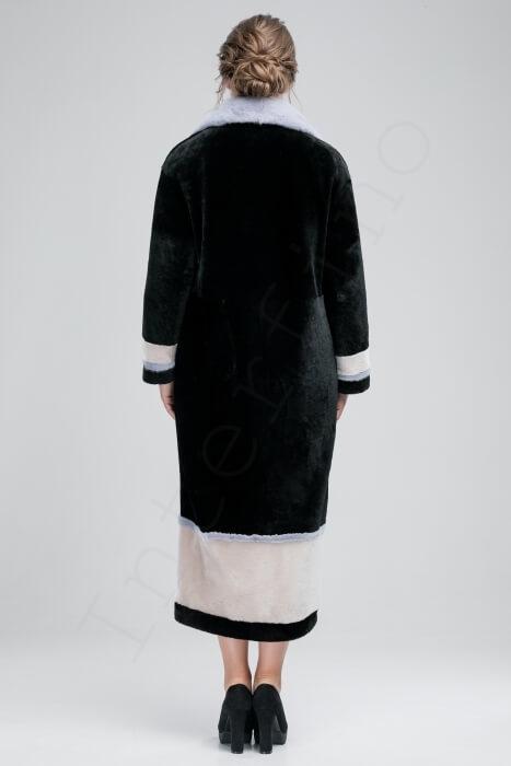 Длинная мутоновая шуба с цветной норковой отделкой 97-2018 сзади
