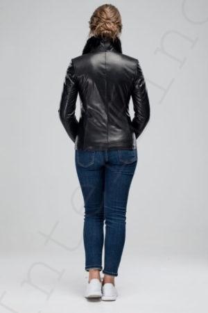 Черная женская кожаная куртка с воротником из норки 06-2012 сзади