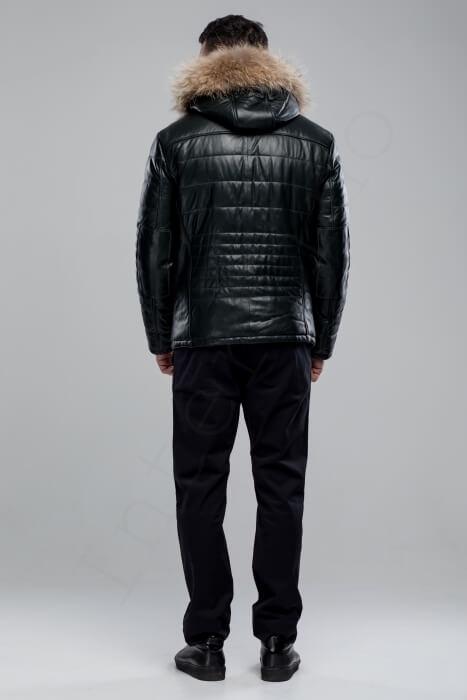 Куртка мужская 38-2018 темно-зеленая сзади