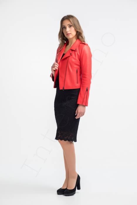 Куртка женская 28-2015 красная вид сбоку