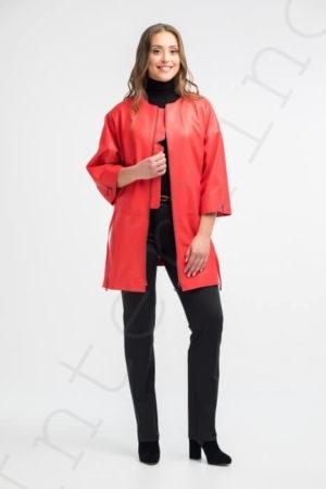 Красное пальто женское 12-2018 вид спереди