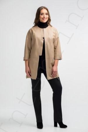 Бежевое пальто женское 12-2018 вид спереди
