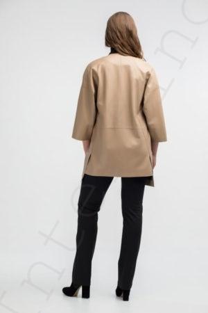 Бежевое пальто женское 12-2018 вид сзади