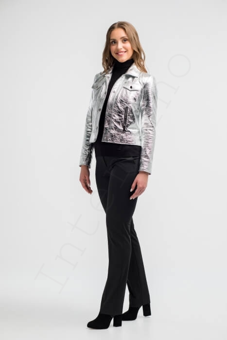 Куртка женская 26-2018 серебряная сбоку