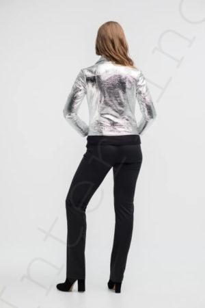 Куртка женская 26-2018 серебряная сзади
