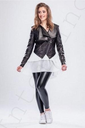 Кожаная куртка с двойным воротом b23453c4c93c7