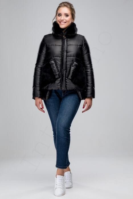 Куртка-пуховик с отделкой кроликом 46-2018 черный спереди