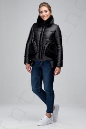 Куртка-пуховик с отделкой кроликом 46-2018 черный сбоку