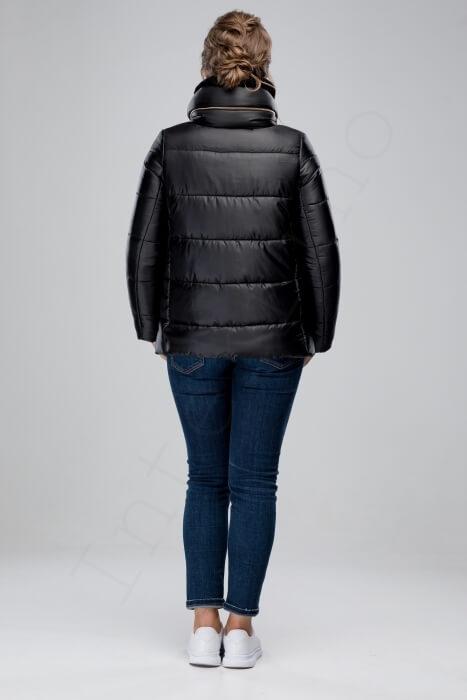 Куртка-пуховик с отделкой кроликом 46-2018 черный сзади