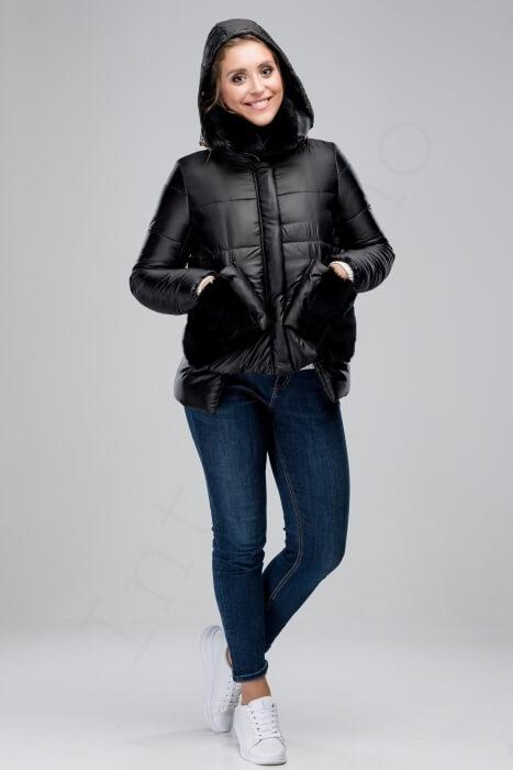 Куртка-пуховик с отделкой кроликом 46-2018 черный