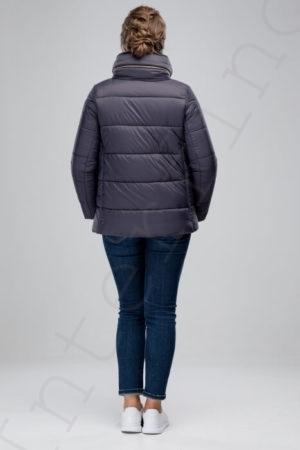 Куртка-пуховик с отделкой кроликом 46-2018 серый сзади