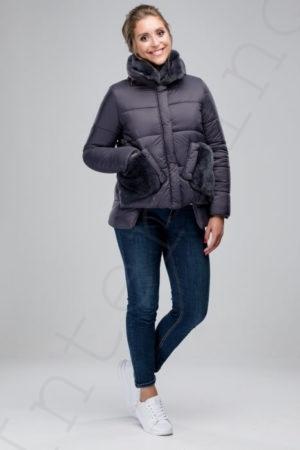 Куртка-пуховик с отделкой кроликом 46-2018 серый