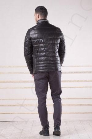 Мужской зимний кожаный пуховик со стойкой 97-2013 сзади