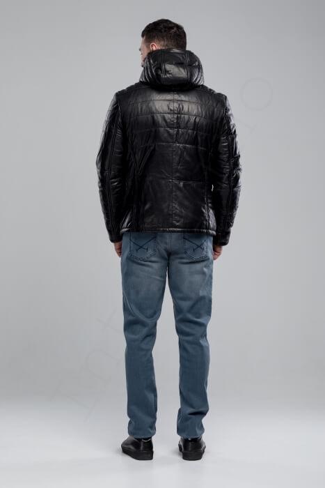 Кожаный пуховик с капюшоном 43-2018 сзади