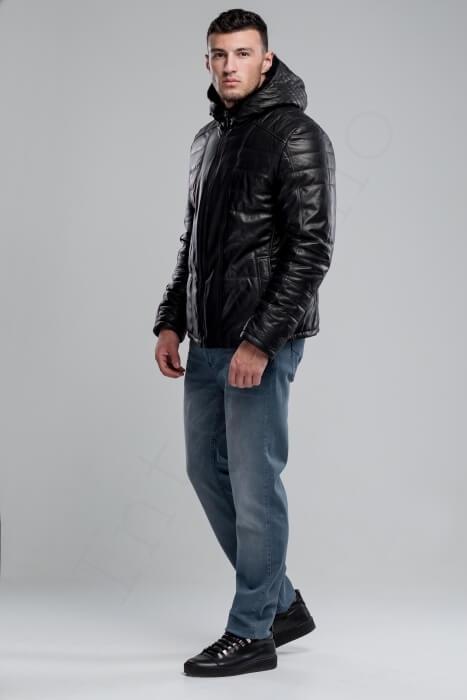 Кожаный пуховик с капюшоном 43-2018 сбоку