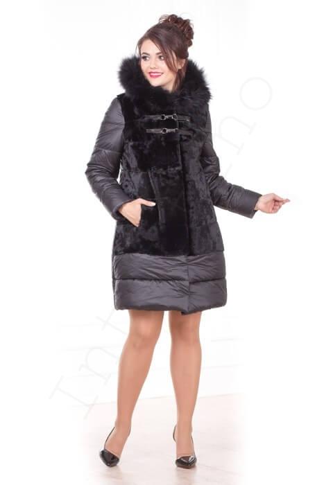 Зимний пуховик с капюшоном 56-2017