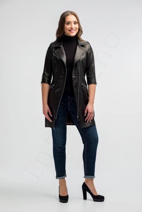 Кожаное пальто 171-2017