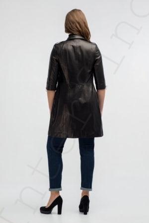 Кожаное пальто 171-2017 сзади