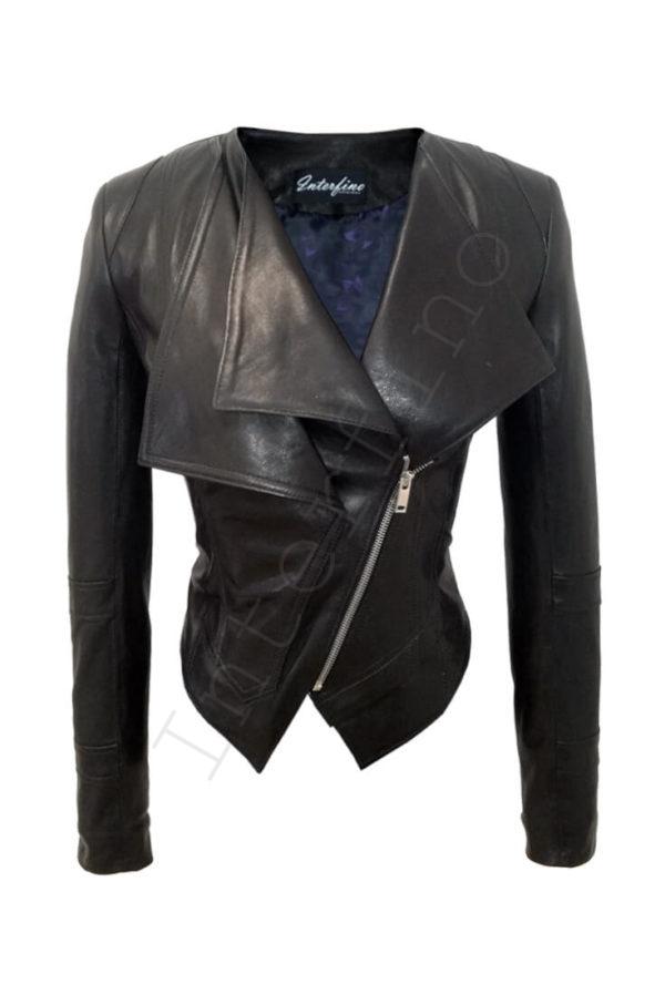 Кожаная куртка с двойным воротом 14-2013