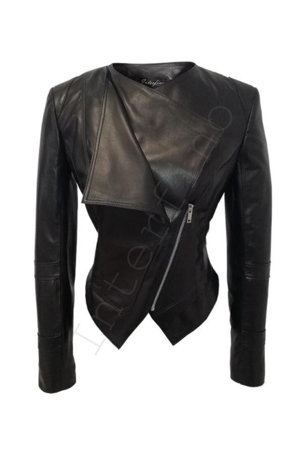 Кожаная куртка с двойным воротом 14-2013 спереди