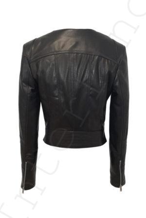 Кожаная куртка с двойным воротом 14-2013 сзади