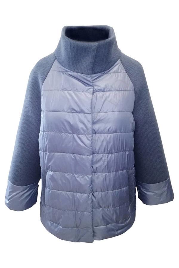 Комбинированная куртка 10-2019 голубая