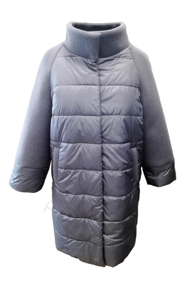 Комбинированное пальто (болонь+трикотаж) серое 45-2018 спереди