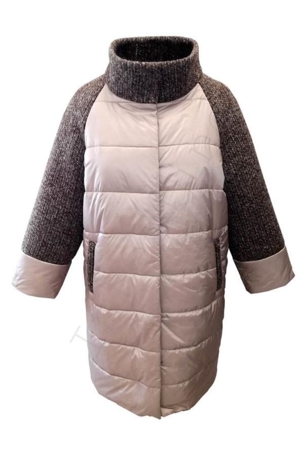 Комбинированное пальто (болонь+трикотаж) розовое 45-2018