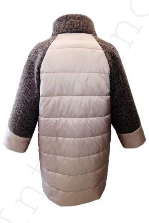 Комбинированное пальто (болонь+трикотаж) розовое 45-2018 сзади