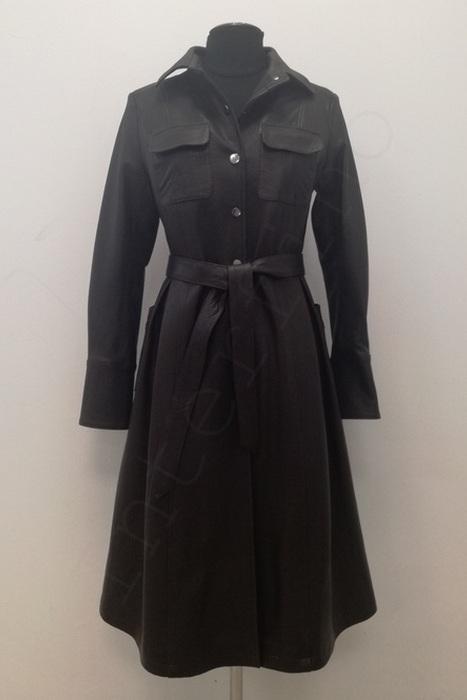 Длинный женский кожаный плащ с поясом 11-2019