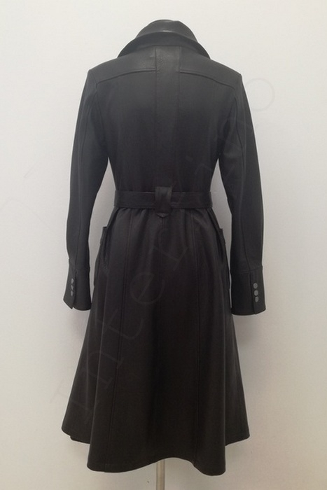 Длинный женский кожаный плащ 11-2019 сзади
