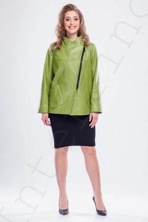 Куртка с косой молнией светло-зеленая 52-2018 спереди