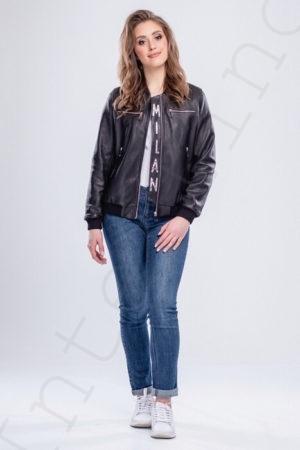 Женский кожаный бомбер 61-2017 спереди