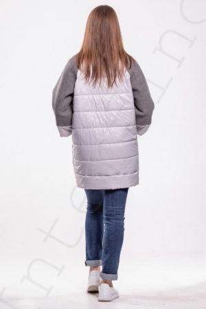 Комбинированное пальто (болонь+трикотаж) серое 45-2018 сзади