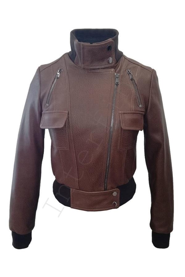 Короткий кожаный бомбер 13-2019 коричневый