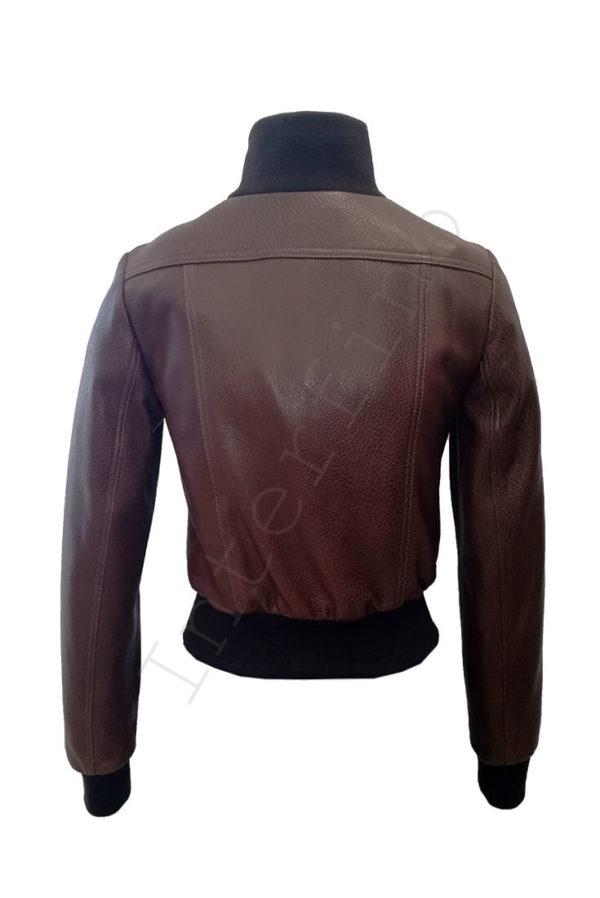 Короткий кожаный бомбер 13-2019 коричневый сзади