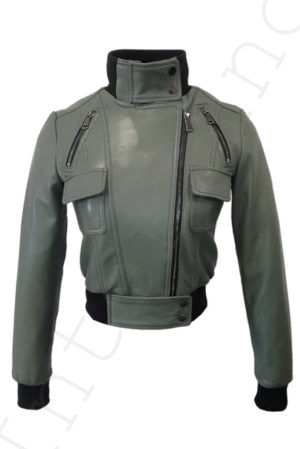 Короткий кожаный бомбер 13-2019 зеленый