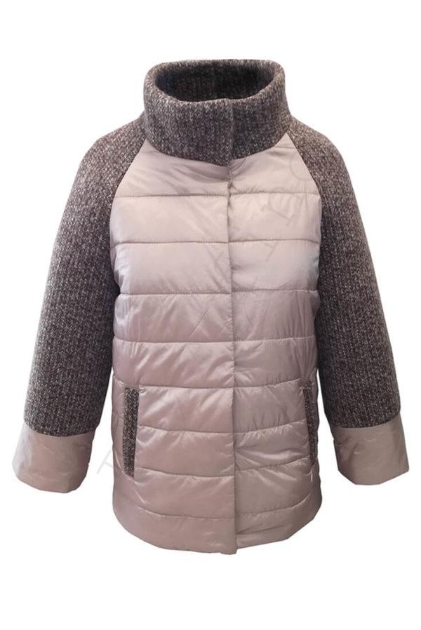 Комбинированная куртка 10-2019 розовая