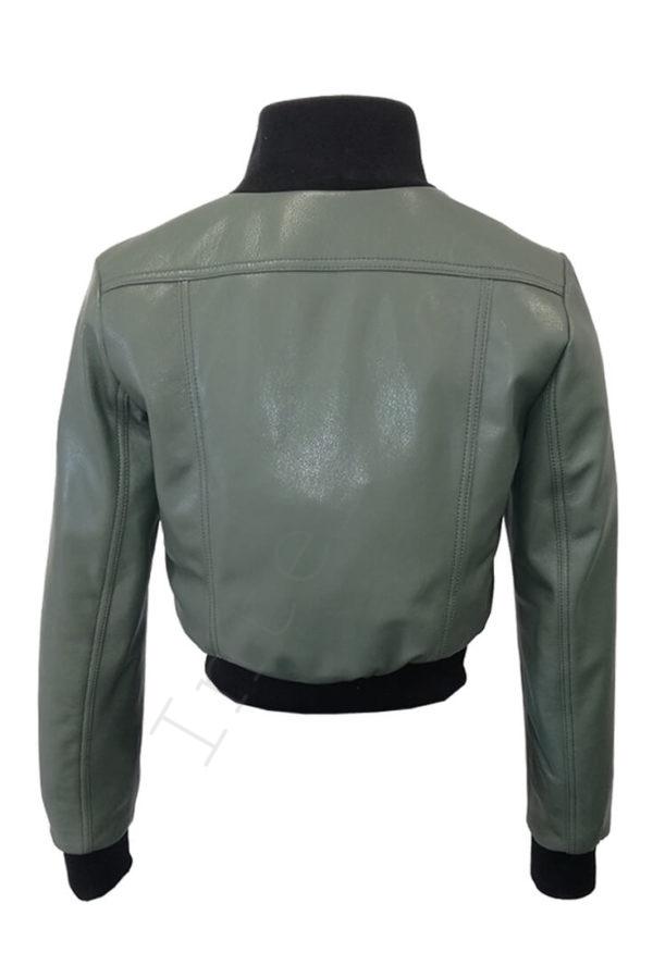 Короткий кожаный бомбер 13-2019 зеленый сзади