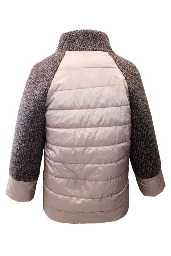 Комбинированная куртка 10-2019 розовая сзади